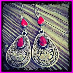 S925 Natural Red Turquoise Boho Earrings